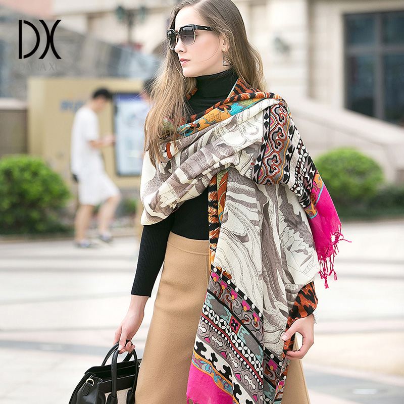 Brand Luxury Plaid Cashmere Winter Woman Poncho Scarf Female Blanket besar Belakang Wool Cape Wanita Pashmina Shawls and Scarves