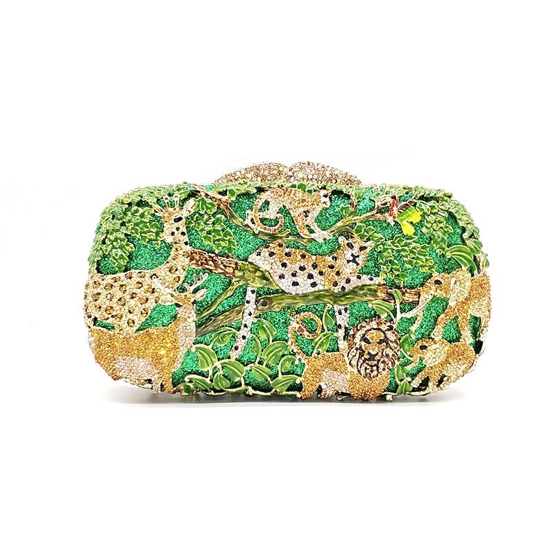 Luxury Bridal wedding party purse women evening party bag diamonds fashion animal jungle zoo crystal clutches