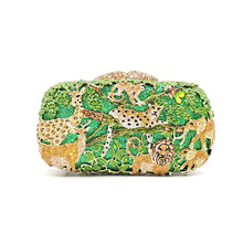 Luxury Bridal wedding party purse women evening party bag diamonds fashion animal jungle zoo crystal clutches crystal purse