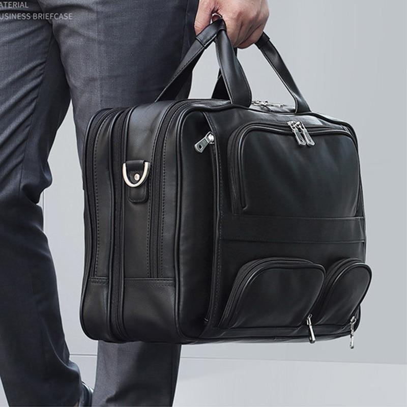 "New Genuine Leather Men bag Briefcase Leather Briefcase 17"" Laptop Business Bag Men's Messenger Bags men's travel bags Handbag"