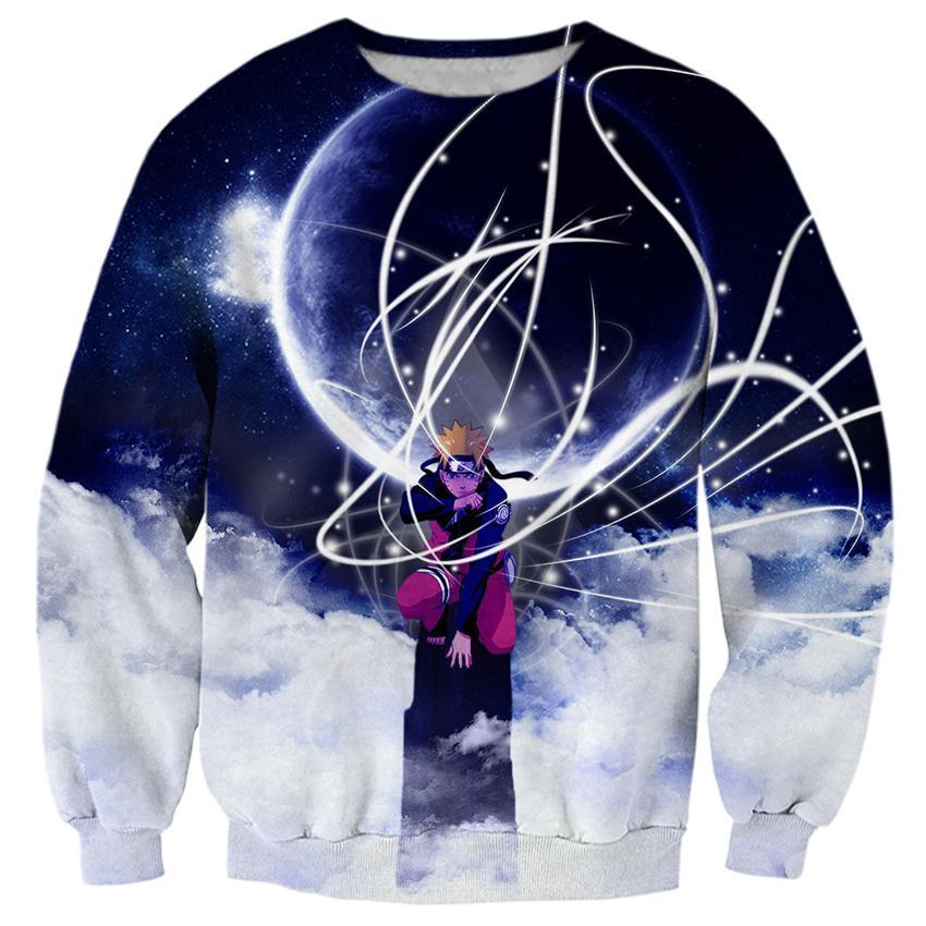 2017 NEW FASHION STYLE MEN WOMEN Naruto Great moon skill white Sweat shirts Pullovers Tracksuit Streetwear Loose Thin Hoody Top