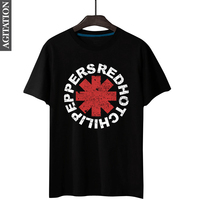 Hip Hop Rock Style Red Hot Chili Peppers Letter Logo Print Men S T Shirt Black