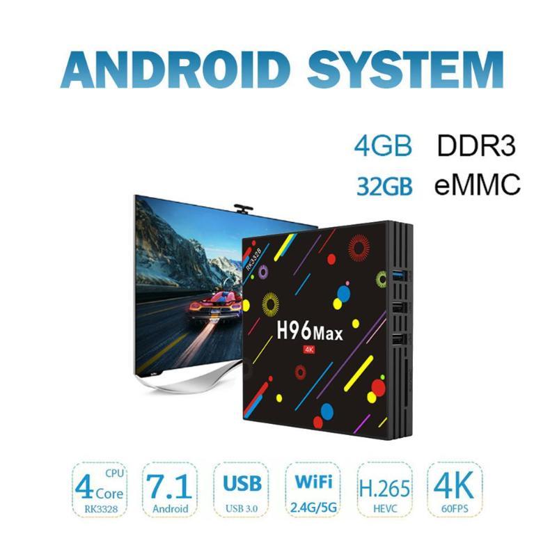 H96 MAX H2 Android 7.1 Smart TV Box Rockchip RK3328 Quad Core 4GB RAM 32/64 GB ROM Suppot H.265 UHD BT 4K 5G WiFi Set Top Box