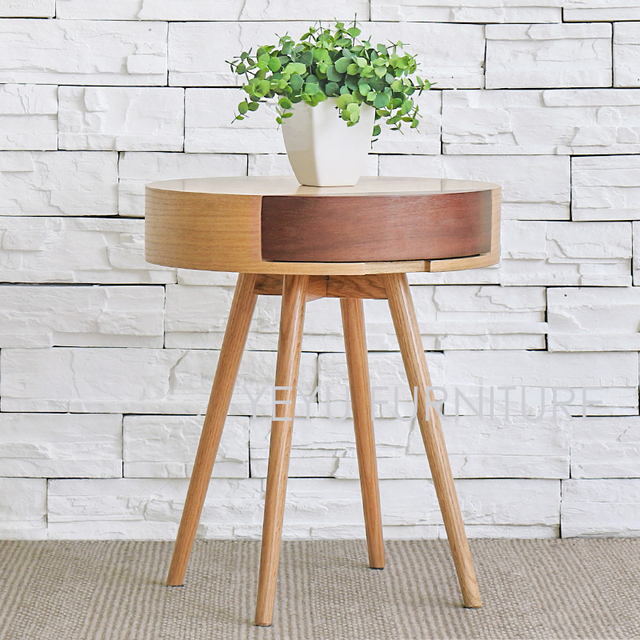 Modern Design Wooden Side Table With Storage Drawer Living Room