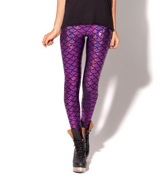 Новинка,, женские леггинсы с цифровой печатью в виде рыбьей чешуи,, большие размеры S M L XL XXL XXXL, 21 цвет - Цвет: K030 Purple