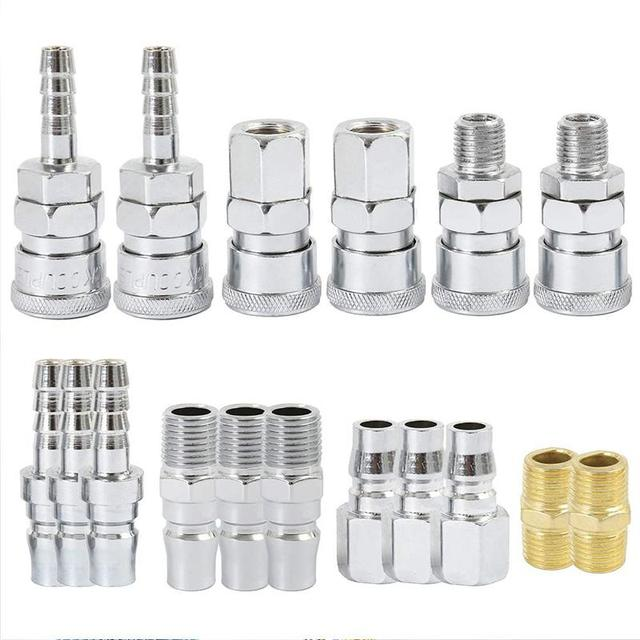 BMBY 18Pc Air Line Hose Fittings 1/4 Inch Bsp Compressor Air Thread Hose Connector Fittings Male Female Connector Quick Releas