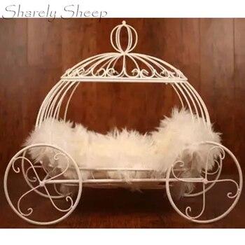 Newborn Halloween Photography Pumpkin Car Props Basket Baby Photo Shoot Studio Posing Cinderella Carriage Iron Bed Shooting Prop