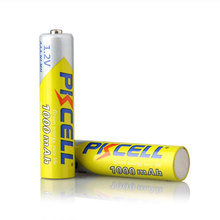 2 pçs/lote PKCELL Alta Energia de 1.2 V 1000 mAh NiMh Bateria Recarregável AAA Ni mh Baterias 3A Battria