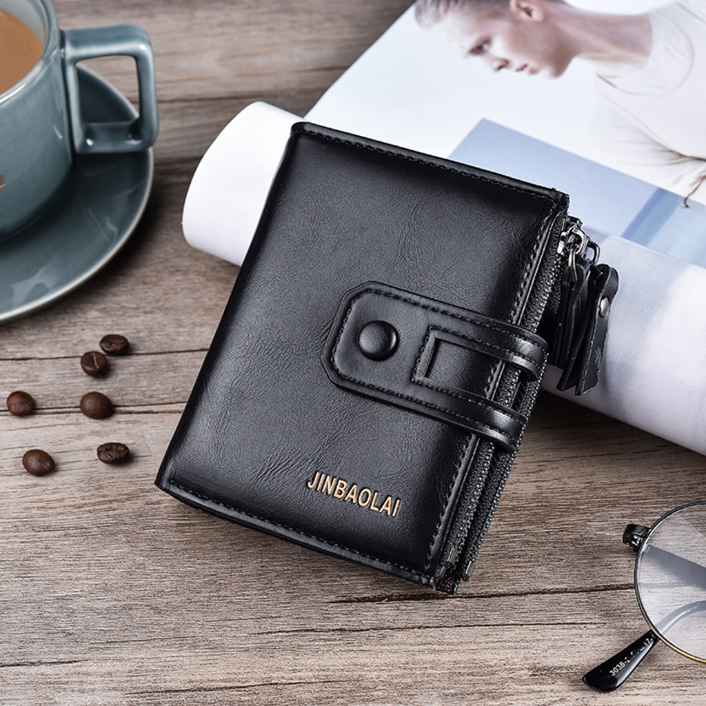Wallet men leather 2019 New Fashion Short Wallet purse Casual Multi-function Clutch Bag Card Package Multi-card Holder