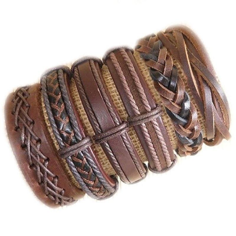 Handmade Wholesale 6pcs/lot genuine adjustable wrap leather bracelet for men pulseira masculina S23