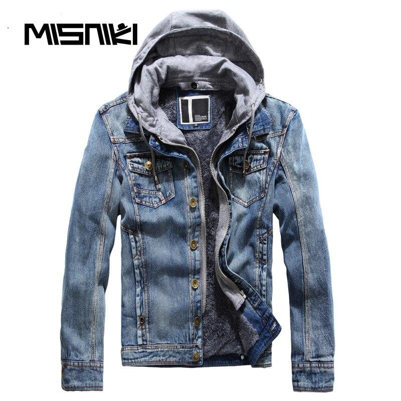 MISNIKI Hot Autumn Winter Denim Jacket Men Hooded Casual Warm Men S Jean Jacket Coat