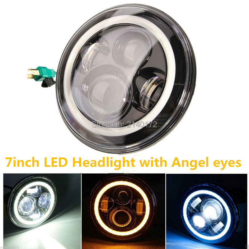 LED Daymaker Headlight 7 INCH projector Driving Headlight Dual beam with Angel eyes for Wrangler JK Trucks Off Road 4x4 2pcs purple blue red green led demon eyes for bixenon projector lens hella5 q5 2 5inch and 3 0inch headlight angel devil demon