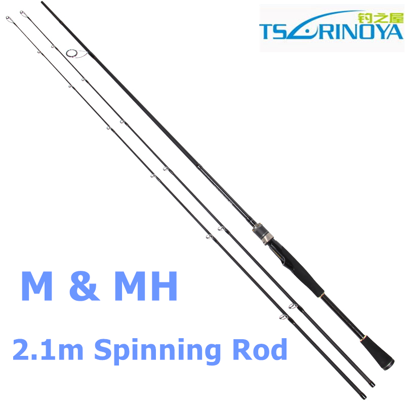 ФОТО Free Shipping Trulinoya 2.1m M / MH Spinning Fishing Rods 2 Section Carbon Fishing Rods