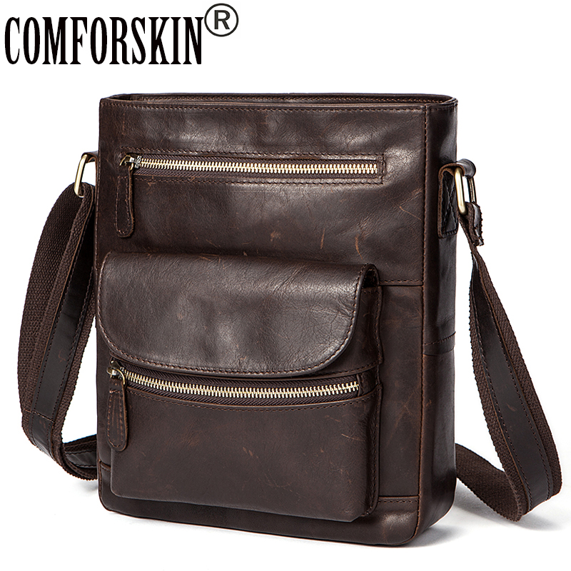 COMFORSKIN Messenger Bag Men Leather Guaranteed 100% Male Shoulder Bags 2018 Hot Designer Fashion Style Multi-layer Men's Bag цена