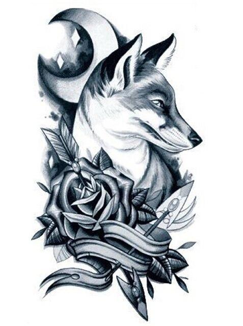 1 feuille hommes bras temporaire tatouage rose fl ches lune loup autocollant de tatouage. Black Bedroom Furniture Sets. Home Design Ideas