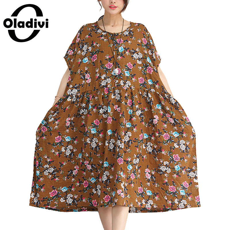 201fe49a870 Oladivi 2018 Summer New Casual Women Cotton Linen Dress Plus Size Fashion  Flower Print Long Tunic Tops Tees Female Loose Dresses-in Dresses from  Women s ...