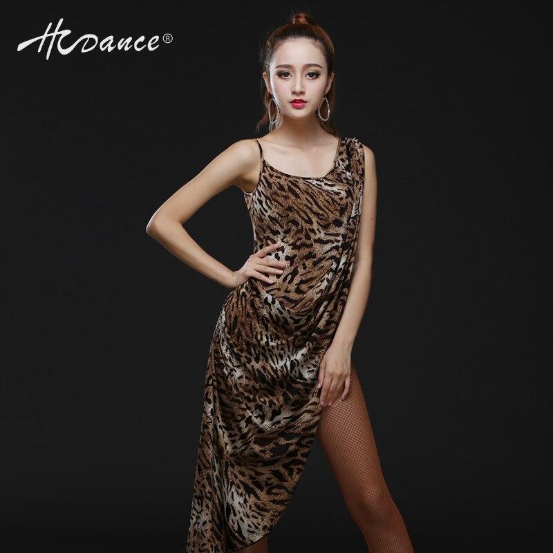 Ballroom Dress Real Polyester Silk 2016 New Latin Dance Dress Salsa Tango Rumba Cha Ballroom Leopard Print Clothes Women A312