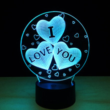 The I LOVE YOU colorful 3D Light touch acrylic optic lights LED 7colors gradient Night lamp remote control lighting for lover