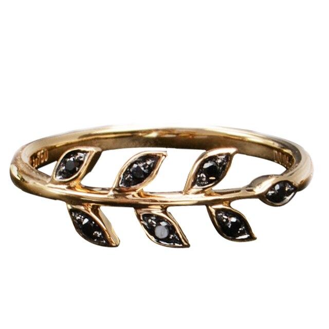 Твердые 18 К Желтое Золото Уникальный 0.07 CTTW Black Diamond Листья Обручальное Кольцо Гарантия OEM Настроить Свадебные Украшения Для Женщин