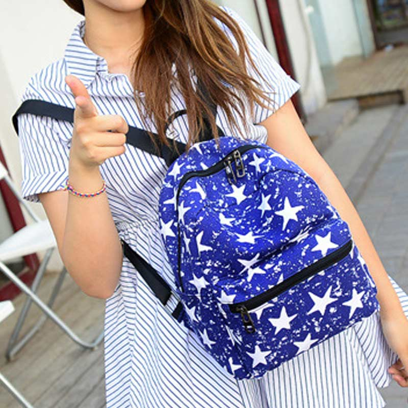 Fashion New Women Students Lovely Canvas Backpack College Small Cartoon Print Sathel Multifunction Travel Bags Popular