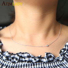 Collier New Collares Maxi Necklace 2018 Sparking Dainty Thin Chain 100% 925 Sterling Women Zirconia Sideway Simple Necklace(China)