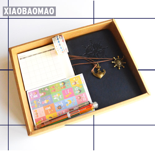 Retro stationery gift set! Handle Diary Journal Vintage Handmade Gift travel With Inside / Pen / Sticker / Tape