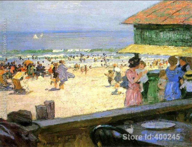 art Oil paintings Beach Scene 5 Edward Henry Potthast artwork on canvas Handmade High quality
