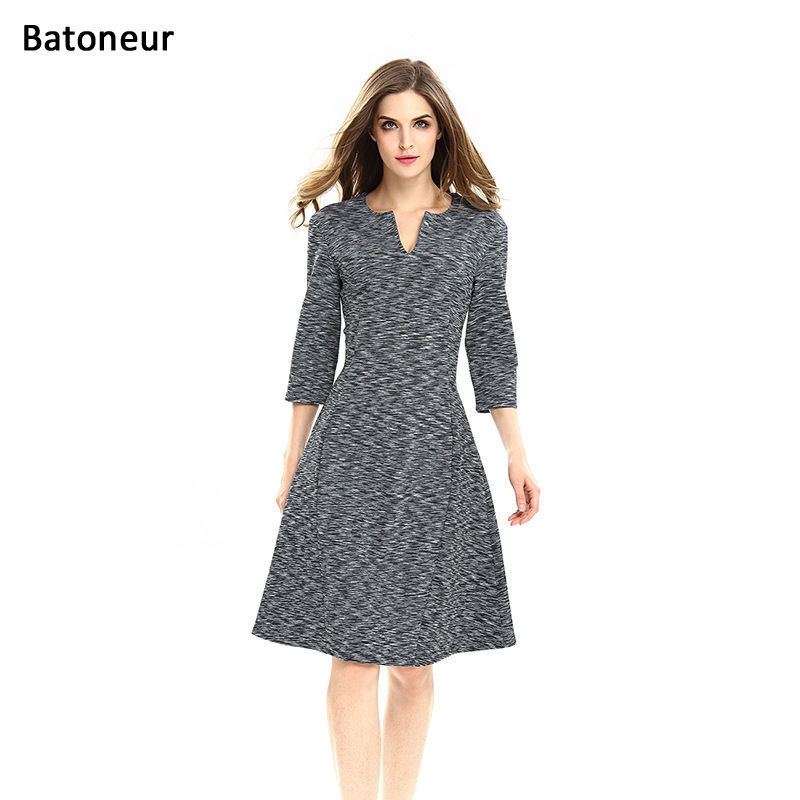 European Style 2017 Fashion Women Office Wear Business Dress Print V Neck Three Quarter Sleeve A
