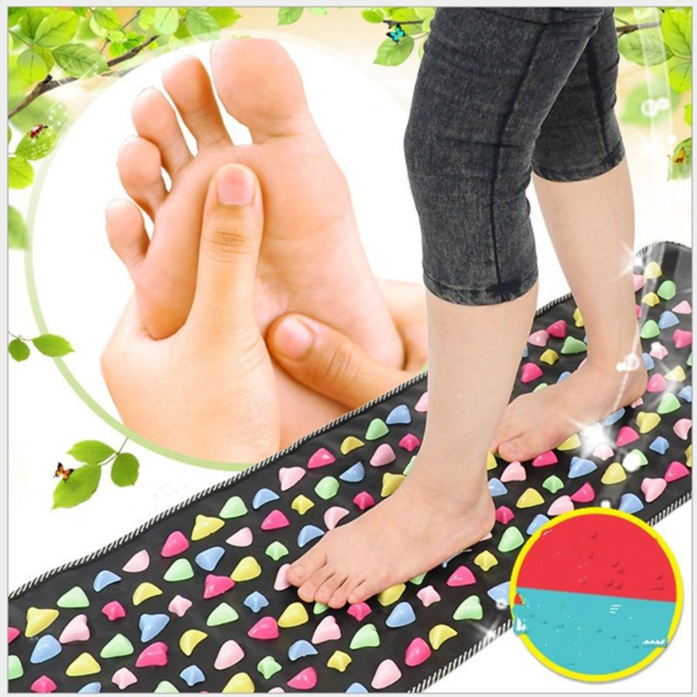 Reflexology Walk Stone Foot Massager Mat Leg Pain Relieve Relief Strengthens Immunity Health Care Acupressure Mat 175*35cm aptoco chinese reflexology walk stone pain relieve foot leg massager mat health care acupressure