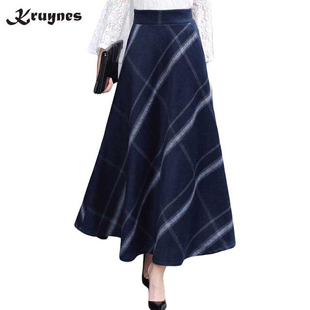 f986ad033047c 2018 Autumn Winter Women Woolen Skirt High Waist Female Long Plaid Wool  Skirt England A-line Ankle-length Woolen Stripe Skirts