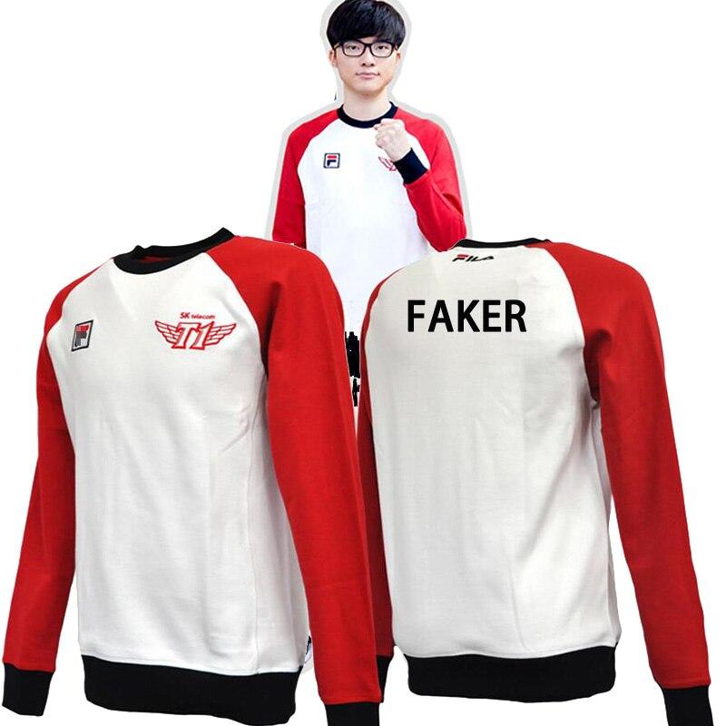 Hot Game LOL Sweatshirt SKT 1 Faker Bang Duke Wolf Blank Bengi LOL Unisex Long Sleeve