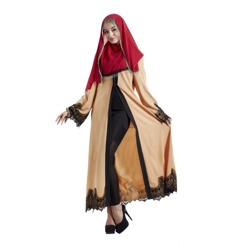 cb721082c16 Muslim Arab Ladies Malaysia Abayas Muslim Robes Women Fashion Lace  Patchwork Robe Long Ladies Clothing ...