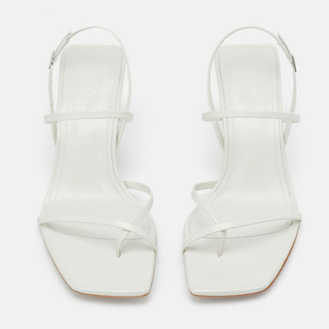 GENSHUO White High Heels Sandals For