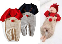 Newbron baby Knitted sweater christmas reindeer romper Baby Clothes Infant Jumpsuits Outerwear Kid Boy Clothes