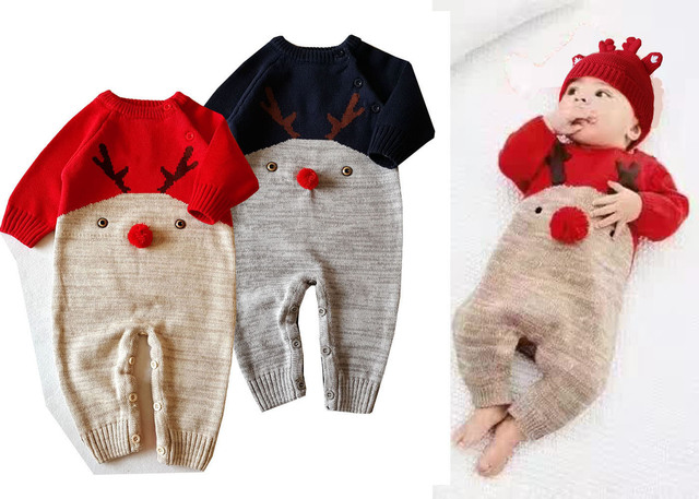 68ab617f9b55 2018 Newbron baby Knitted sweater christmas reindeer romper Baby Clothes  Infant Jumpsuits Outerwear Kid Boy Clothes