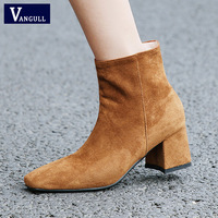VANGULL New Women Boots Shoes Autumn Winter Martin Boots High Heels Round Toe Ankle Boots for Women Female Brown black shoes