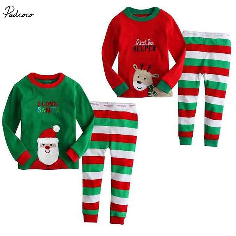 NWT Christmas Santa Reindeer Baby Girls Boys Pajamas Nightwear Suit Outfits Set 2016 christmas suit 0 3y newborn toddler kids girls boys reindeer homewear nightwear sleepwear pajamas set 2pcs