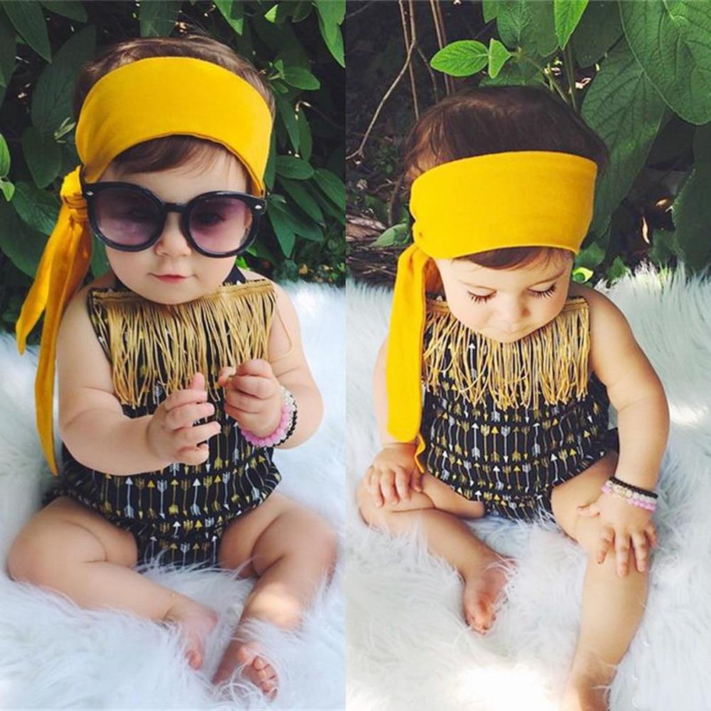 Nyfödda spädbarn baby barn flickor ärmlös tofs pil spänne - Babykläder - Foto 3