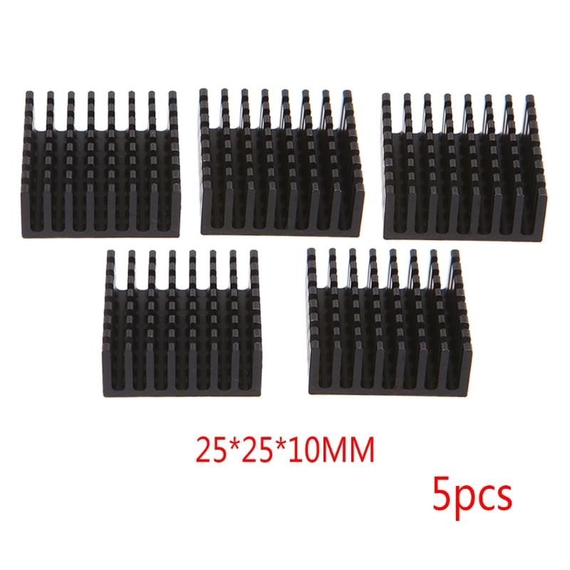 5Pcs 25*25*10mm Aluminum Heatsink Block Computer Cooler Electronic Chip Radiator