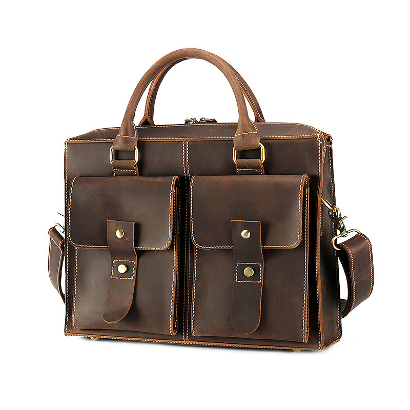 Durable Quality Crazy Horse Leather Men Bag High Grade Thicken Cowhide Handbag Vintage Genuine Leather Men Briefcases