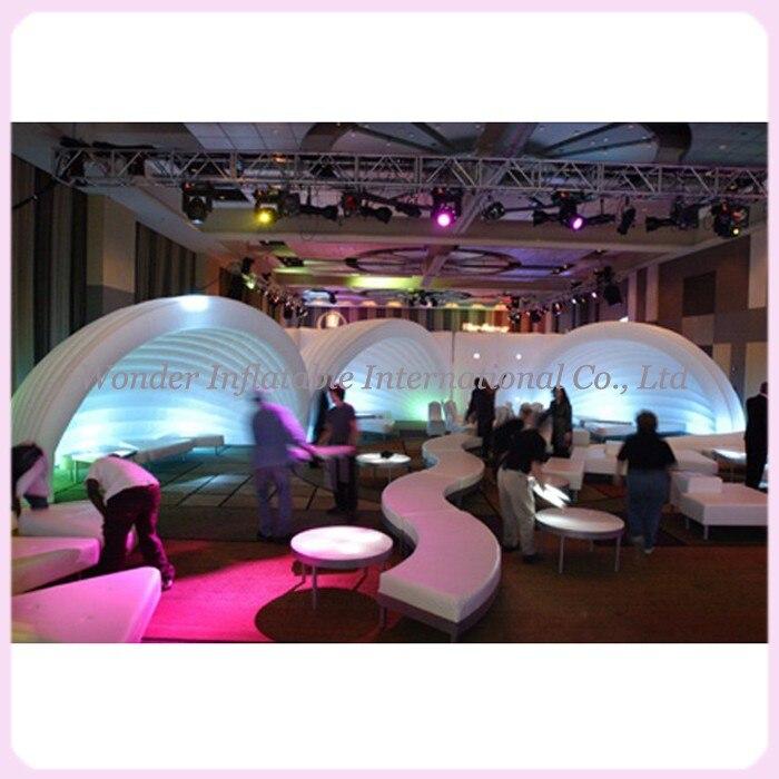7 м белый надувной оболочки палатка портативный Air надувной купол половины палатка с RGB Светодиодное освещение гигантские надувные палатки