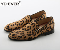 2019 Spring Hot Leopard Suede Dress Men Shoes Top Quality Prom Slip On Men Shoes Flats Loafers Horsehair Luxury Brand Shoes Men