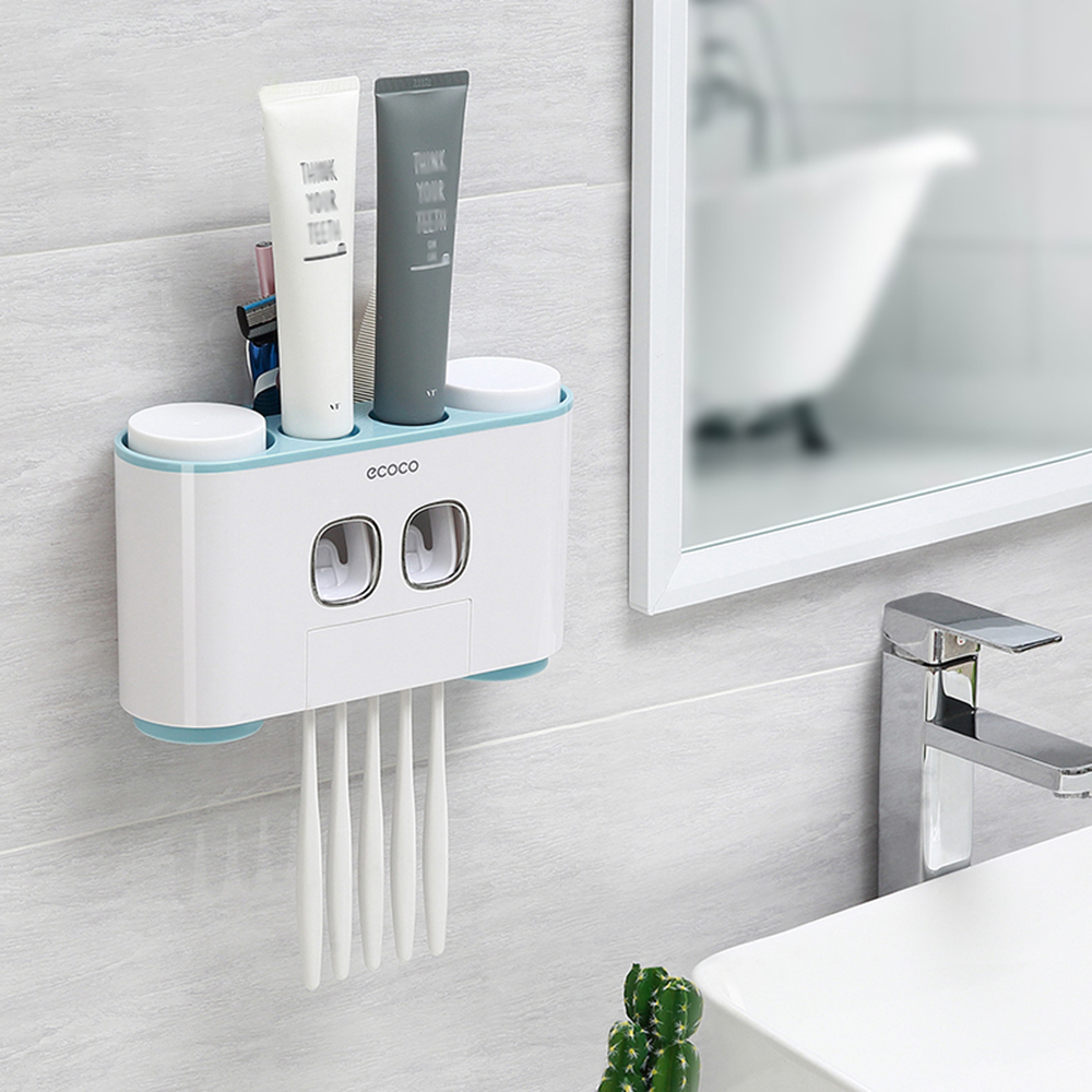 BR Wall Mount Automatic Toothpaste Dispenser Toothbrush Holder Set Bathroom Accessories Multifunctional Storage Rack With 4 Cups