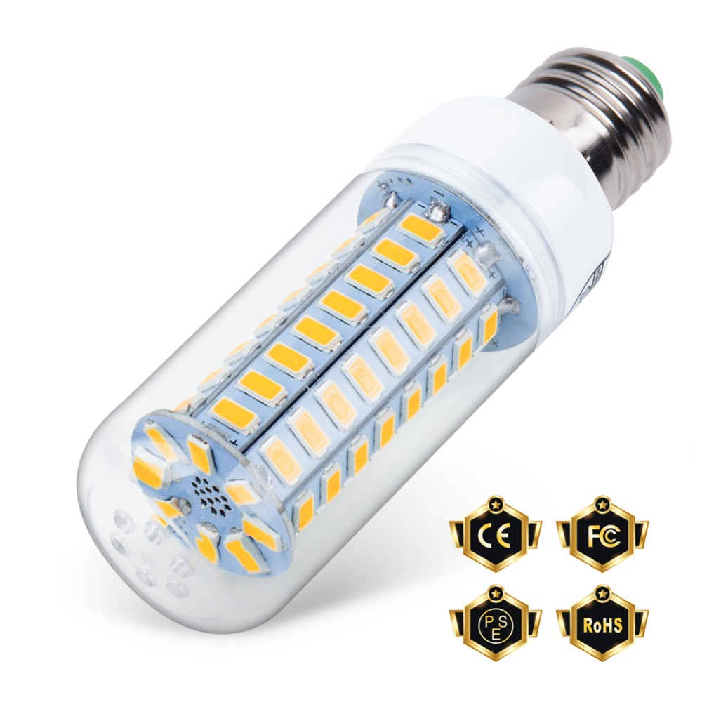 E27 Led Candle Bulb 220V LED E14 Corn Lamp 5730 SMD 24 36 48 56 69 72leds Energy Saving Light for Home Chandelier Lighting 240V smuxi e27 3 5w led bulb 27 5730 smd energy saving corn light lamp with frosted cover pure warm white home lighting 24v