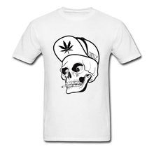 Canada Maple Leaf Skull Top T-Shirts Men Skull DJ T Shirt Big Size Top Quality White Fashion Tshirt For Adult Hip Hop Mad Tees(China)