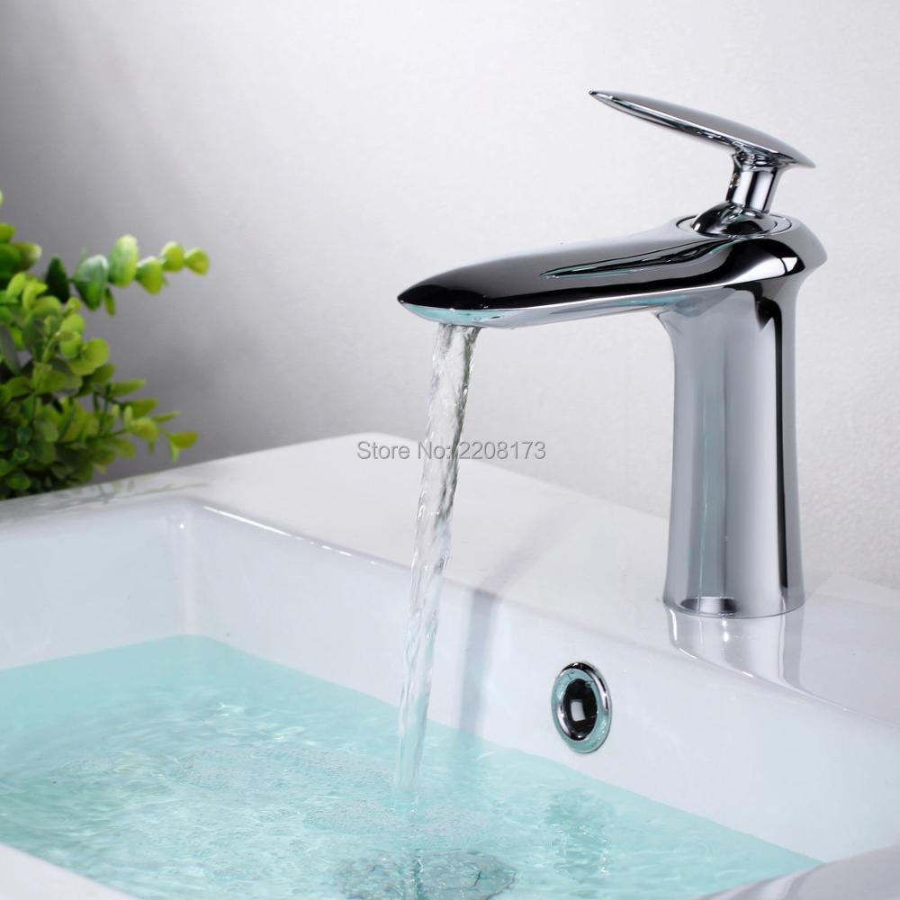 Smesiteli New Arrival  Promotions Solid Brass  Chrome Finish Single Lever hole Bathroom Sink Faucet Basin Filler Mixer Tap купить