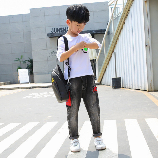 Kids Jeans Boys Denim Pant 2019 Spring New Fashion Ripped Toddler Boy Jeans Teenager Loose Harem Children Jeans 5 6 7 8 9 10 12