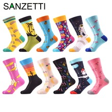 SANZETTI 12 pairs/lot 2018 Men's Combed Cotton Geometry Skateboard Socks Casual