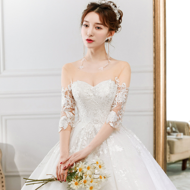 3ed6eb4f7 Popodion media manga encaje retro cola larga boda vestido de novia vestido  de boda vestido de novia de WED90443 en Vestidos de novia de Bodas y  eventos en ...