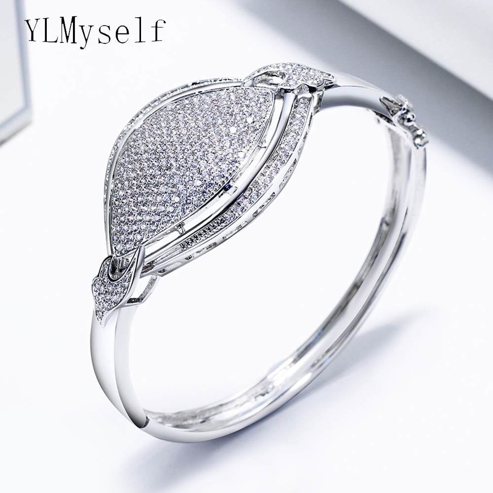 Large bangle white and gold-color trendy jewelry quick shipping top quality aaa crystal elegant women charming BraceletLarge bangle white and gold-color trendy jewelry quick shipping top quality aaa crystal elegant women charming Bracelet